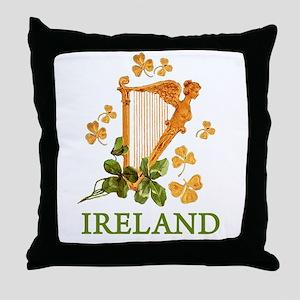 Ireland - Irish Golden Harp Throw Pillow
