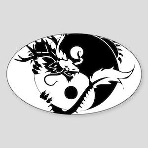 Yin Yang Dragon Sticker (Oval)