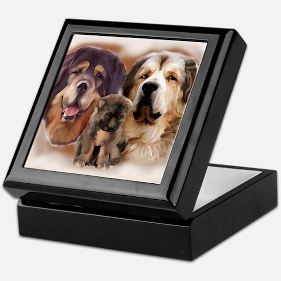 tibetan Mastiff family group Keepsake Box
