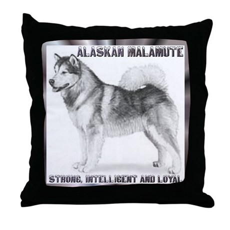 """Alaskan Malamute"" Throw Pillow"