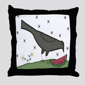 Folkart Crow Throw Pillow