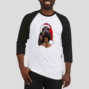 bloodhound pup with santa Baseball Jersey