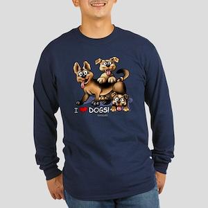 I Love Dogs Long Sleeve Dark T-Shirt