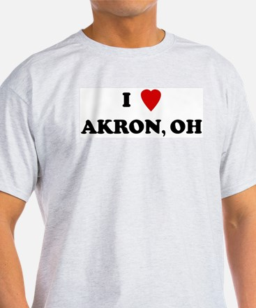 I Love Akron Ash Grey T-Shirt