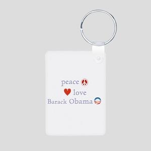 Peace, Love and Obama Aluminum Photo Keychain