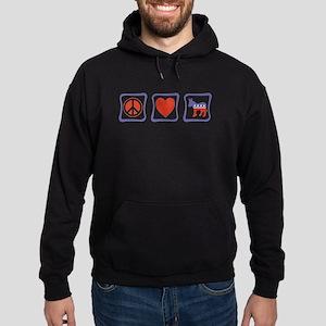 Peace, Love and Democrat Hoodie (dark)