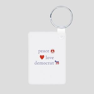 Peace, Love and Democrat Aluminum Photo Keychain