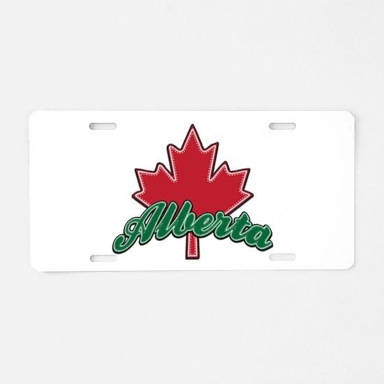 Alberta Maple Leaf Aluminum License Plate