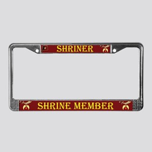 Shriners License Plate Frame Dark Red background