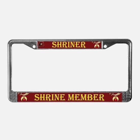 Shriners License Plate Frame Dark Red background