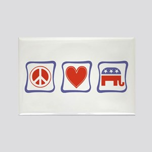 Peace, Love and Republican Rectangle Magnet