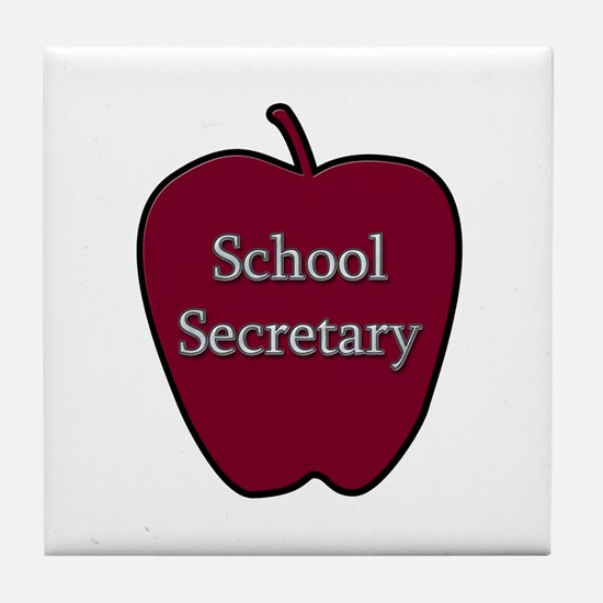 School Secretary Apple Tile Coaster