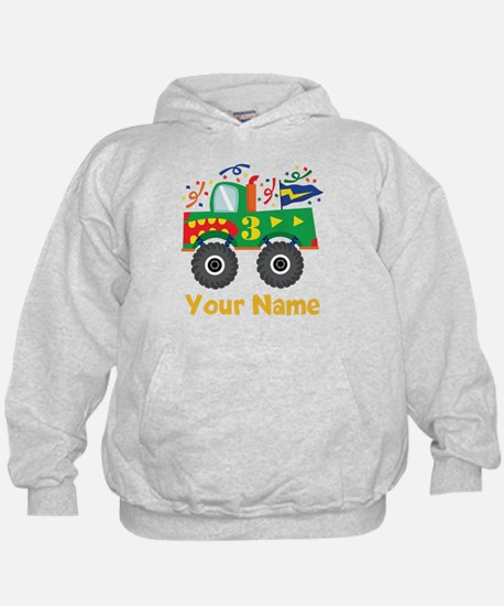Personalized 3rd Birthday Monster Truck Hoodie