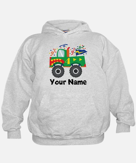 Personalized 4th Birthday Monster Truck Hoodie