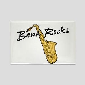 Band Rocks w/Sax Rectangle Magnet