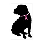 Shar Pei Breast Cancer Support Sticker (Rectangle