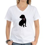Shar Pei Breast Cancer Support Women's V-Neck T-Sh