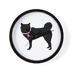 Siberian Husky Breast Cancer Support Wall Clock