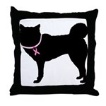 Siberian Husky Breast Cancer Support Throw Pillow