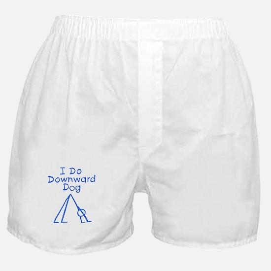 Blue Downward Dog Boxer Shorts