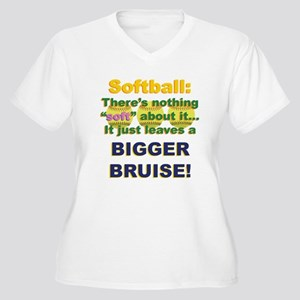 Softball = Not Soft Women's Plus Size V-Neck T-Shi