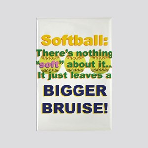Softball = Not Soft Rectangle Magnet