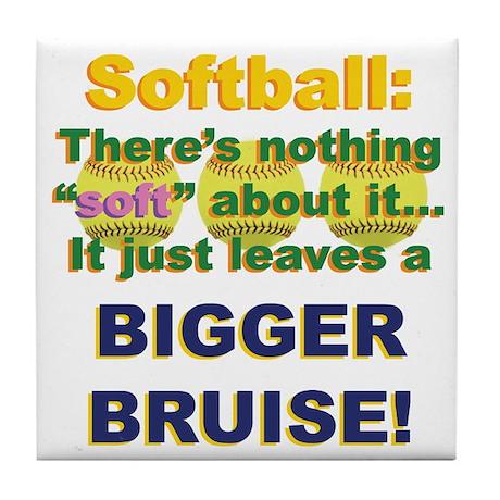 Softball = Not Soft Tile Coaster