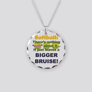 Softball = Not Soft Necklace Circle Charm