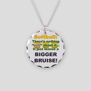 Softball = Not Soft Necklace Circle Charm
