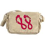 Pink Ribbon Feet Messenger Bag