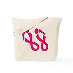 Pink Ribbon Feet Tote Bag