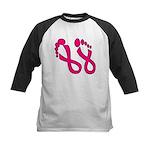 Pink Ribbon Feet Kids Baseball Jersey