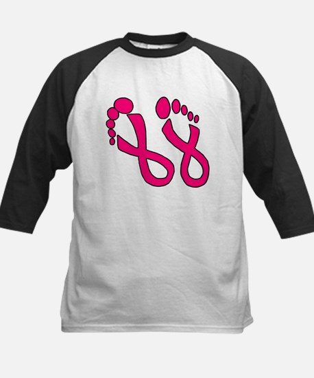 Pink Ribbon Feet Kids Baseball Jersey