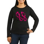 Pink Ribbon Feet Women's Long Sleeve Dark T-Shirt