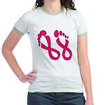 Pink Ribbon Feet Jr. Ringer T-Shirt