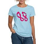 Pink Ribbon Feet Women's Light T-Shirt