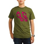 Pink Ribbon Feet Organic Men's T-Shirt (dark)