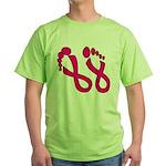 Pink Ribbon Feet Green T-Shirt