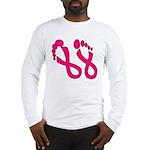 Pink Ribbon Feet Long Sleeve T-Shirt