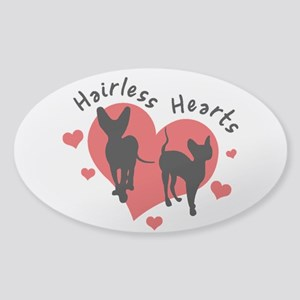 Sticker (Oval) - Hairless Hearts