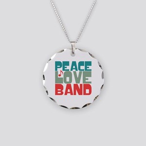 Peace Love Band Necklace Circle Charm