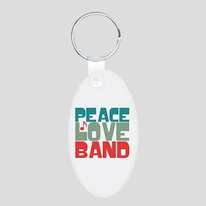 Peace Love Band Aluminum Oval Keychain
