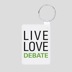 Live Love Debate Aluminum Photo Keychain