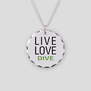 Live Love Dive Necklace Circle Charm