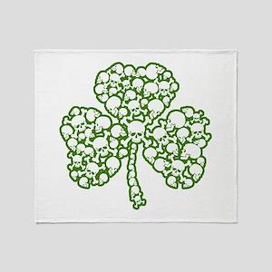 St. Patrick's Day Shamrock Skulls Throw Blanket