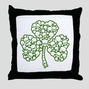 St. Patrick's Day Shamrock Skulls Throw Pillow