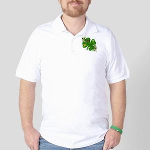 Fancy Irish 4 leaf Clover Golf Shirt