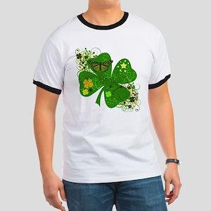 Fancy Irish 4 leaf Clover Ringer T