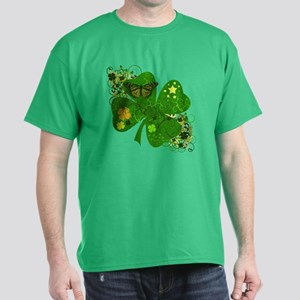 Fancy Irish 4 leaf Clover Dark T-Shirt