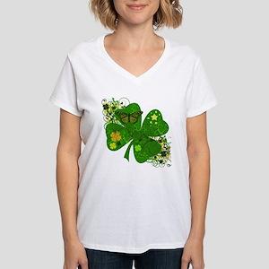 Fancy Irish 4 leaf Clover Women's V-Neck T-Shirt
